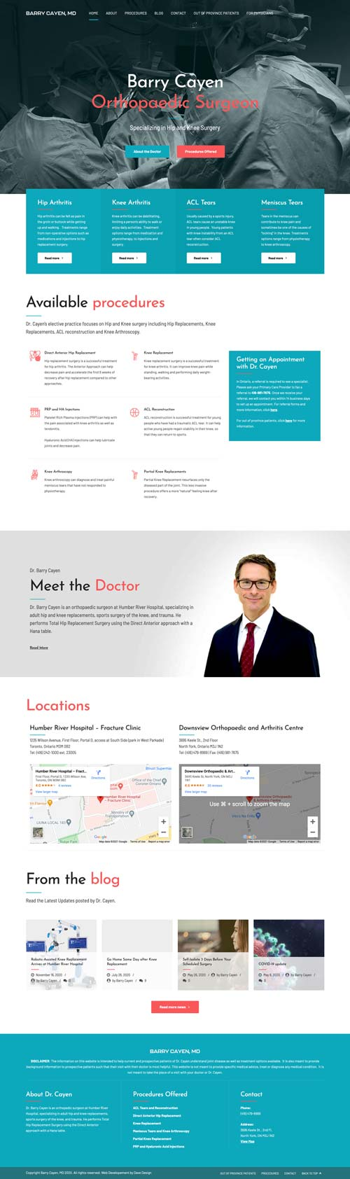 a screenshot of the doctor barry cayen homepage