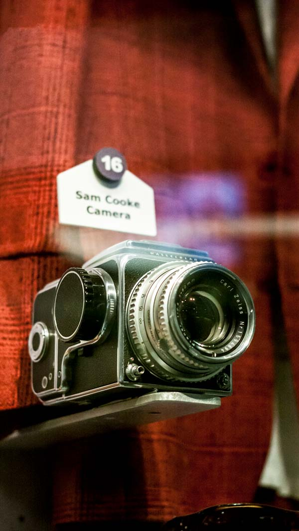 a close up of a camera used by sam cooke at the rock and roll hall of fame