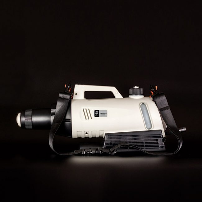 a covid sanitizing fogger is shown on a black background