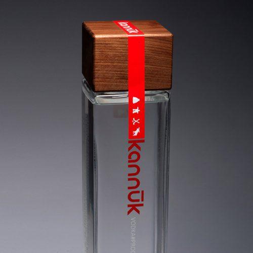 a bottle of kannuk vodka sits on a